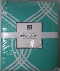 Pottery Barn Teen Infinity Stripe Full Queen DUVET Cover Green White