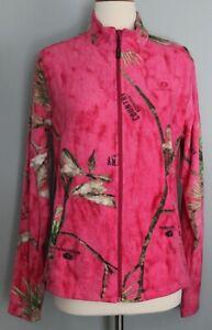 New Women's MOSSY OAK Country Roots Pink Camo Full Zip-Up Fleece Jacket S M L