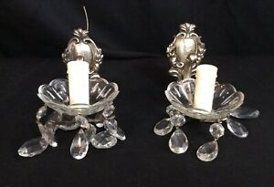 Pair Antique SILVER PLATED SCONCES Cutglass Prisms Crystal Bobeches Wired