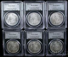 6 PIECE LOT 1890-CC MORGAN SILVER DOLLARS $1 PCGS MS63