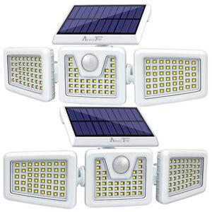 2 Pack Solar Lights Motion Sensor, Outdoor IP65 Waterproof LED Adjustable heads