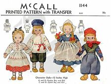 Reproduction vintage russe & dutch fille et garçon poupées sewing pattern M1144