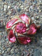 "Vintage foiled pink rhinestone 1 and 1/16"" metal button."