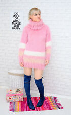 MOHAIR Hand Knitted Sweater Pullover Jumper pink brown Handmade New SALE ❤️