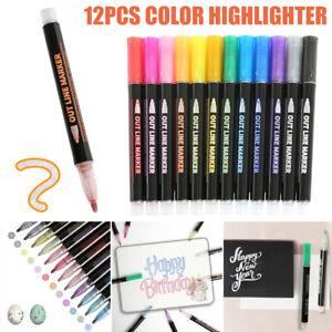 12 Marker Pen Highlight Painting Acrylic Paint Pen Kit Painting Rocks GlASS