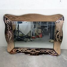 Large Venetian Mirror Ornate  Etched Cut to Clear Glass Pink Clear Art Nouveau