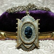 Vintage Antique Black Cameo Mourning Hidden Photo Locket Pendant Necklace