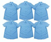 6 x NEW Tesco Boys Short Sleeve School Shirts. Blue. Easy Iron. Aged 14-15.