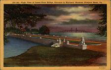 Newport News Virginia AK 1955  Night view of James River Bridge Mariners Museum