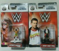2 WWE Nano Metalfigs Die-Cast Figures #23 Ultimate Warrior #24 Rowdy Roddy Piper
