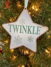 "New Kurt Adler 4.25"" Sage Green Metal Star Christmas Ornament -Twinkle!"