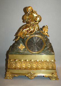 """Pendule / Horloge en bronze dorée poinçonnée """"Pons"""""""