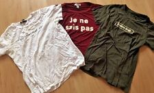 Lot of 3 FOREVER 21 Teen Girls T Shirts size M Red Olive & White  Back to School
