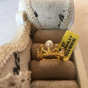 Genuine Japanese Akoya Pearl & White Topaz Crown Ring in 14k Gold over S/Silver