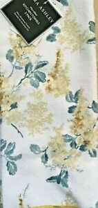 LAURA ASHLEY  KITCHEN TOWELS (2) WHITE GOLD BLUE FLOWERS 15 X 25 POLYESTER NWT