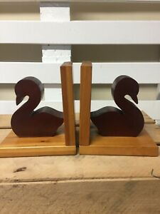 Pair Of Hand Made Craftique Wooden Duck Book Ends.
