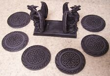 Drink Coaster Set of 6 Mythical pair of Dragons and Holder NEW