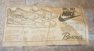 Vintage 1984 Nike Print Ad Newspaper Jogger Court Bottom Basketball Sneaker Shoe