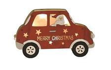 LED Light Up Santa in Wooden Red Car 22cm