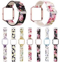 Colorful Floral Genuine Leather Band Strap w Metal Frame Cover For Fitbit Blaze