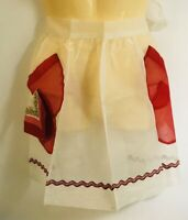 Vintage 40'S 50'S 60'S Red with Hankie Women's Aprons Printed Half 1/2 Apron