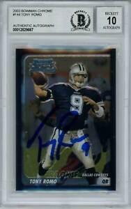 Tony Romo Autographed 2003 Bowman Chrome Rookie Card BAS 10 Slab 29850