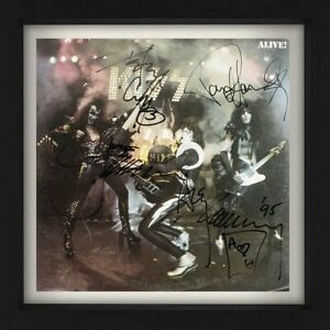 """Kiss Signed By All 4 Band Members 1975 Hit """"Alive"""" Record Album LP Cover Reprint"""