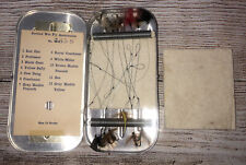 Vintage Snelled Wet Fly Fishing Flies In Metal Tin Case Box Nice