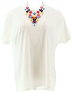 IMAN City Chic 2Pc Tee Necklace BLACK WHITE XL NEW 690-332