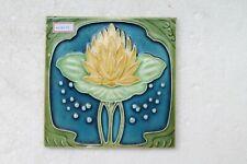 VINTAGE TILE ART NOUVEAU MAJOLICA YELLOW FLOWER DESIGN ARCHITECTURE TILE NH4414