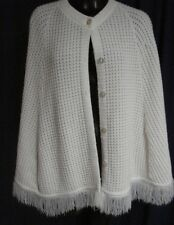 "VTG Retro White Poncho Sweater Button Up  Glamour Knts 1S22 2"" fringe Cape Funky"