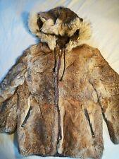 Genuine Fur Hooded Jacket Talon Zipper Vintage