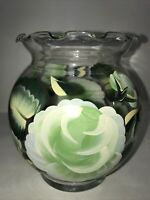 Clear Vase W/ Hand Painted Green Flowers 5 1/4 In High