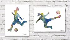 "Set of 2 Girls Soccer Watercolors 11"" x 14"" Art Prints by Artist DJR"