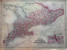 JOHNSON'S ONTARIO CANADA LAGO incisione 1866 cartina STATI UNITI  MAP