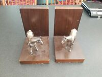 nice vintage mid century Japan wood and metal horse bookends