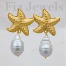 ORECCHINI perle barocche grigie stelle marine EARRINGS grey pearls starfish