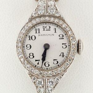 Hamilton Women's Dress Hand-Winding Watch 900 Platinum w/ 3 Cts Diamond Milgrain
