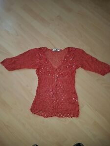 M&Co Sequinned Lacy Knit Cardigan Coral size16