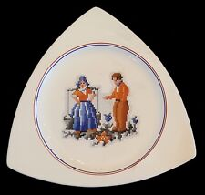 Tricorne Salem Dinner Plate Dutch Boy Girl Petit Point Blue Red Bands 1950s MCM