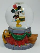 Vintage DISNEY Marching Band MICKEY Mini Miniature SNOWGLOBE Pluto - Red/Green