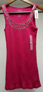 Comfort OLD NAVY Crimson BEADED Embellished Women's Size Small S Ribbed Tank Top