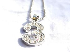 New Bling Rhinestone #  3 Pendant w Ball Chain Necklace US Seller