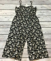 Gap Womens XX-Large 2XL Black, Ivory & Pink Floral Jumpsuit Romper. Nwt