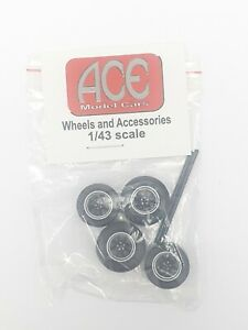 1:43 Scale Wheels & Tyres - ACE Model Cars - Minilite Black / Custom or Code 3