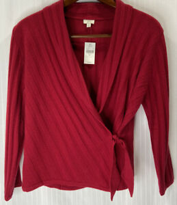 JJill New 100% Cashmere Sweater Red Ribbed Wrap Style Womens Large Long Sleeve