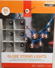 New Target Blue Wire Clear Globe 20 Bulb String Light Set Indoor & Outdoor NIB