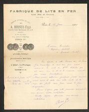 "PARIS (XI°) USINE de LITS en Fer & Cuivre ""A. BOSSUS Fils"" en 1905"