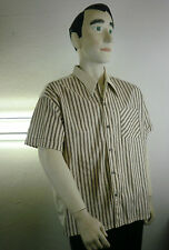 Fi Uomo Camicia Parte Superiore Camicia Rockabilly True Vintage 60er a strisce 60`s SHIRT SHORT