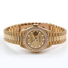 Rolex Ladies President 69138 Factory Champagne Diamond Dial and Bezel 18K Y Gold
